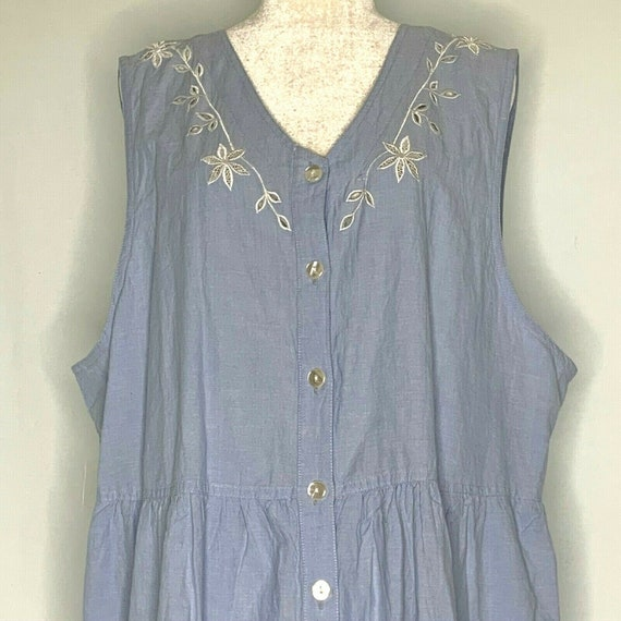 Vintage 90s Venezia Chambray Maxi Dress 2X Blue Em