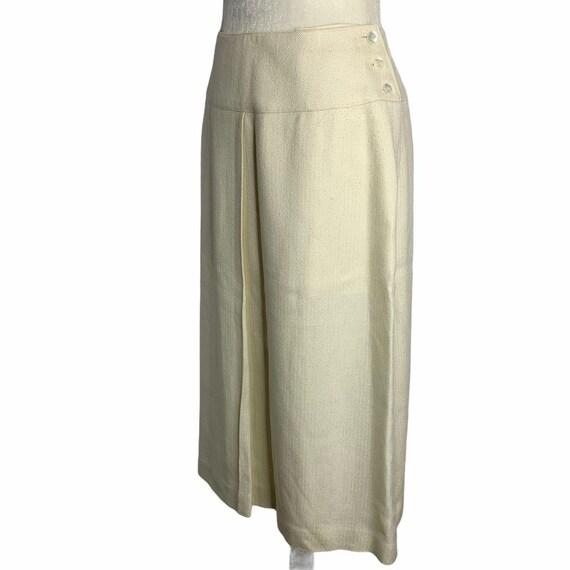 Vintage 70s Pleat Front Midi Skirt M Ivory Lined … - image 5