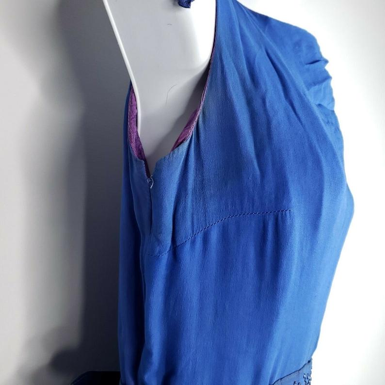 Vintage 50s RK Originals Blue Chiffon Overlay Dress S Shoulder Bow Belted Bling