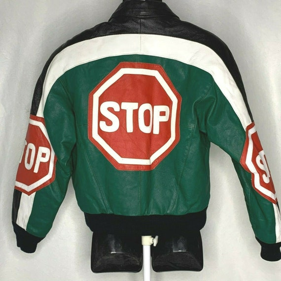Vintage 90s Leather Jacket S Green Stop Sign Racin