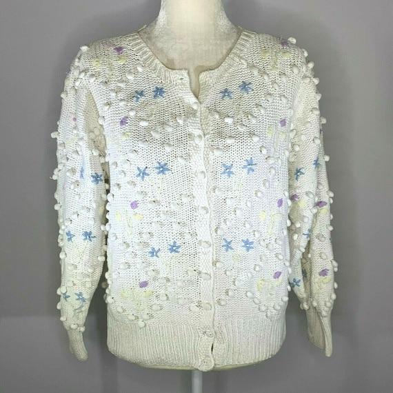 Vintage 90s Eagles Eye Cardigan Sweater M White Kn