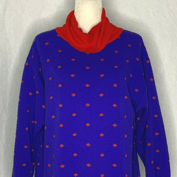 Vintage 80s Quilted Housecoat Robe M Blue Red Ribb