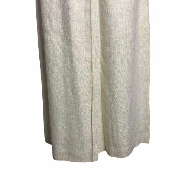 Vintage 70s Pleat Front Midi Skirt M Ivory Lined … - image 3