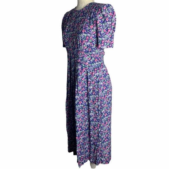 Vintage Floral Pleated Midi Dress 4 Blue Cottagec… - image 5