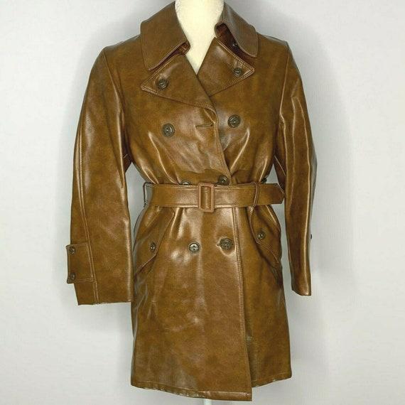 Vintage 60s Vinyl Jacket S Brown Pockets Tie Belte