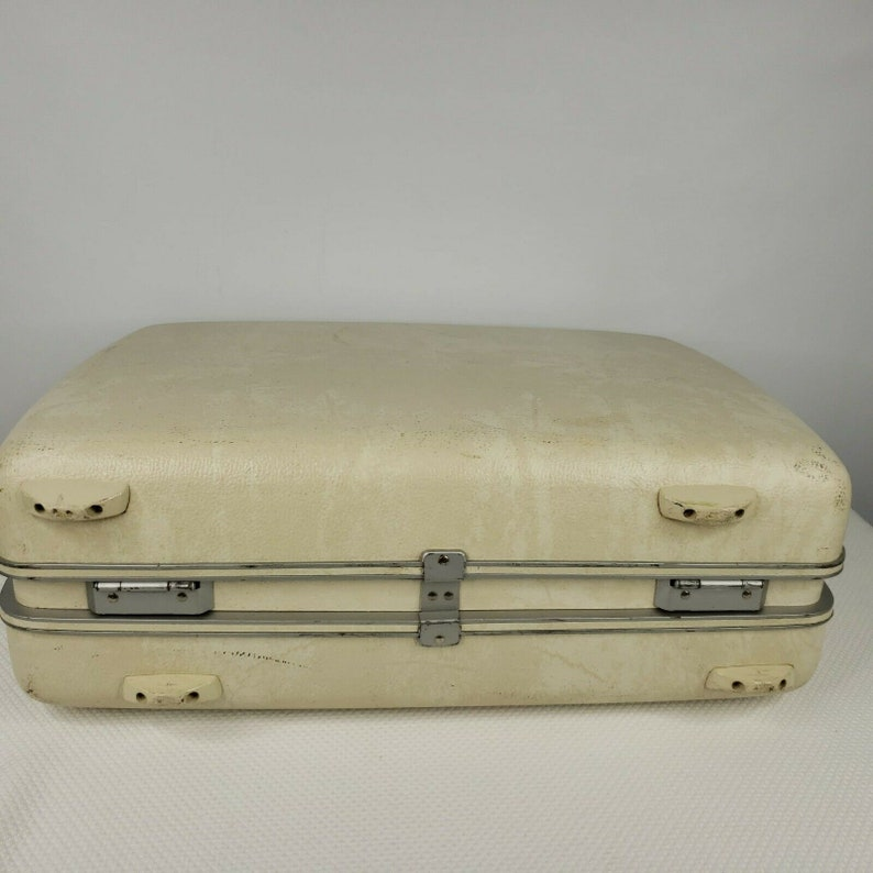 Vintage 60s Sears Courier White Marbled Hard Case Suitcase Luggage 19 in