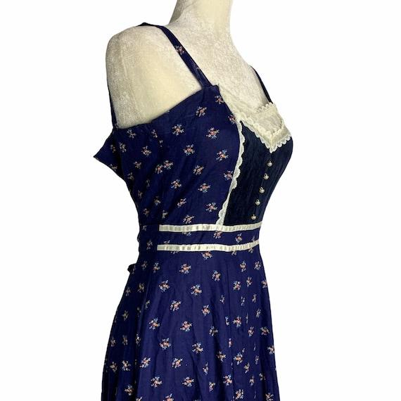 Vintage Gunne Sax Calico Prairie Dress S Blue Sun… - image 7