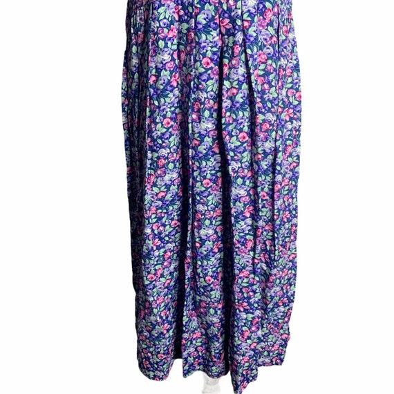 Vintage Floral Pleated Midi Dress 4 Blue Cottagec… - image 3