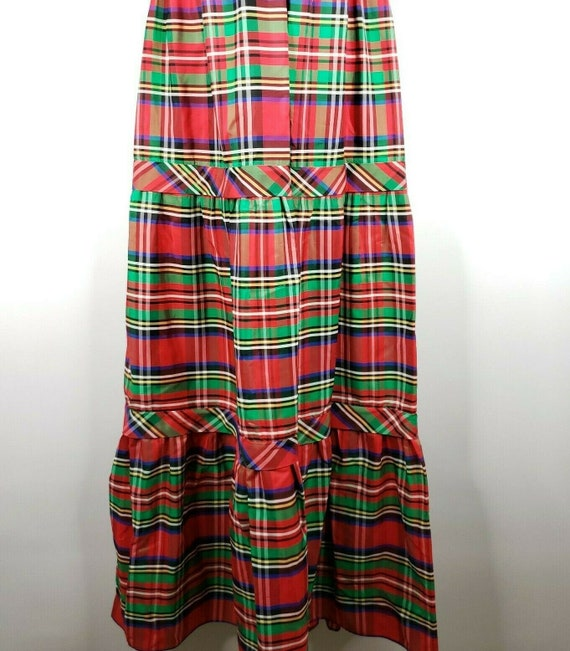 Vintage 70s Candi Jones Dress M Red Green Christm… - image 3