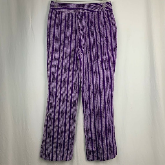 Vintage 70s Miss Holly Woven Knit Pants 8 Purple … - image 5
