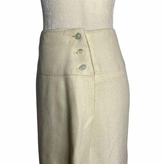 Vintage 70s Pleat Front Midi Skirt M Ivory Lined … - image 4