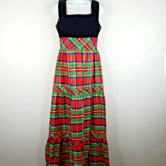 Vintage 70s Candi Jones Dress M Red Green Christm… - image 1