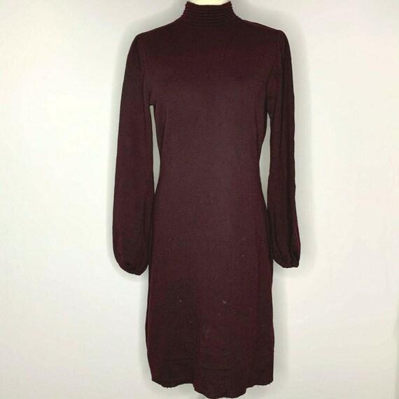 Vintage 60s Wool Knit Sweater Dress M Brown Mock N