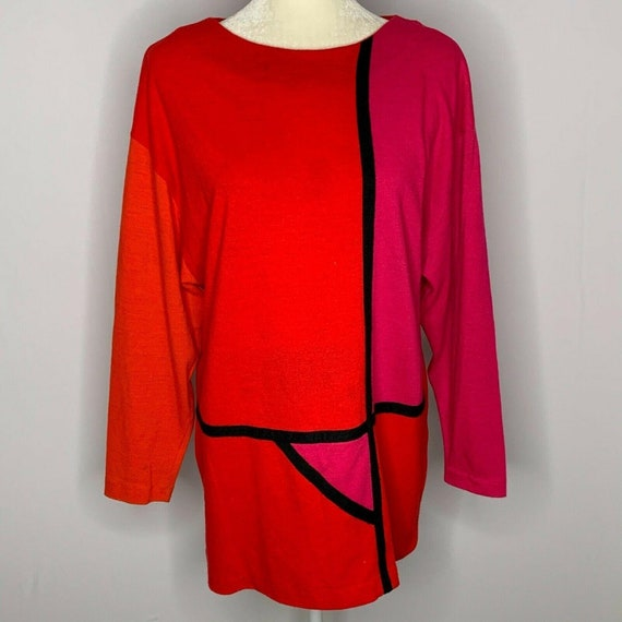 Vintage 80s Leslie Fay Tunic Sweater 8 Red Pink Ov