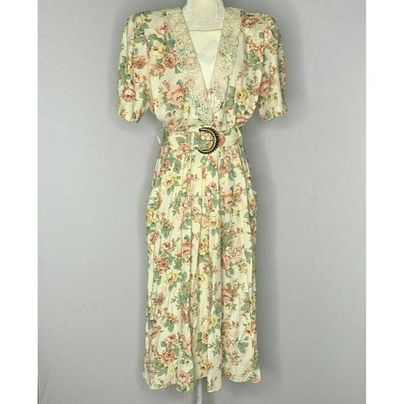 Vintage 80s Floral Midi Dress M Ivory Cottage Core