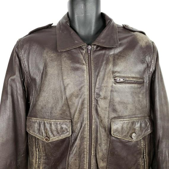 Vintage Brown Leather Bomber Flight Jacket Made in