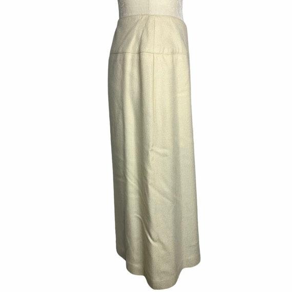 Vintage 70s Pleat Front Midi Skirt M Ivory Lined … - image 7