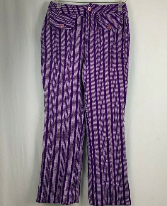 Vintage 70s Miss Holly Woven Knit Pants 8 Purple … - image 2