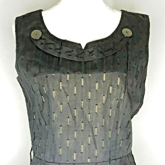 Vintage 60s Midi Sheath Dress M Black Textured Poc