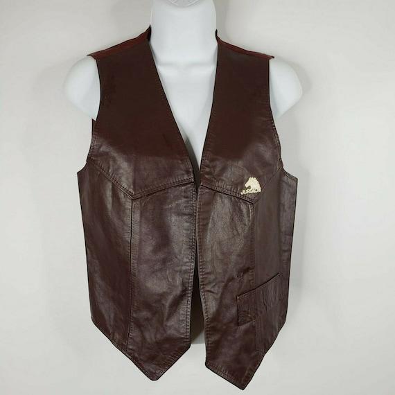 Vintage 80s Genuine Leather Vest Brown Biker Vest Leather Boho Vest Warm Winter Vest Sleeveless Vest Cowboy Leather Vest 80s Western Vest