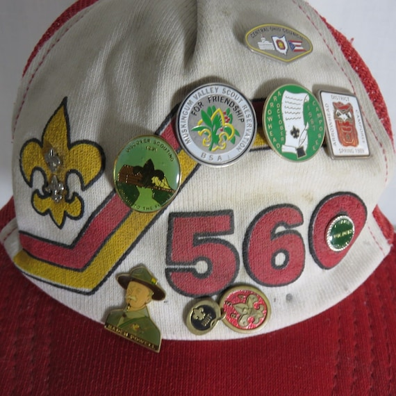 Vintage 80s Red Snapback Boy Scouts Hats Pins Cent