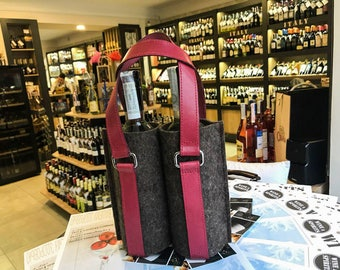 Leather Felt Double Wine Bottle Holder, Leather Wine Bag, Gift Bag, Wine Tote bag, Leather Wine Tote, Wine Carrier, Bottle Case, Wine Case