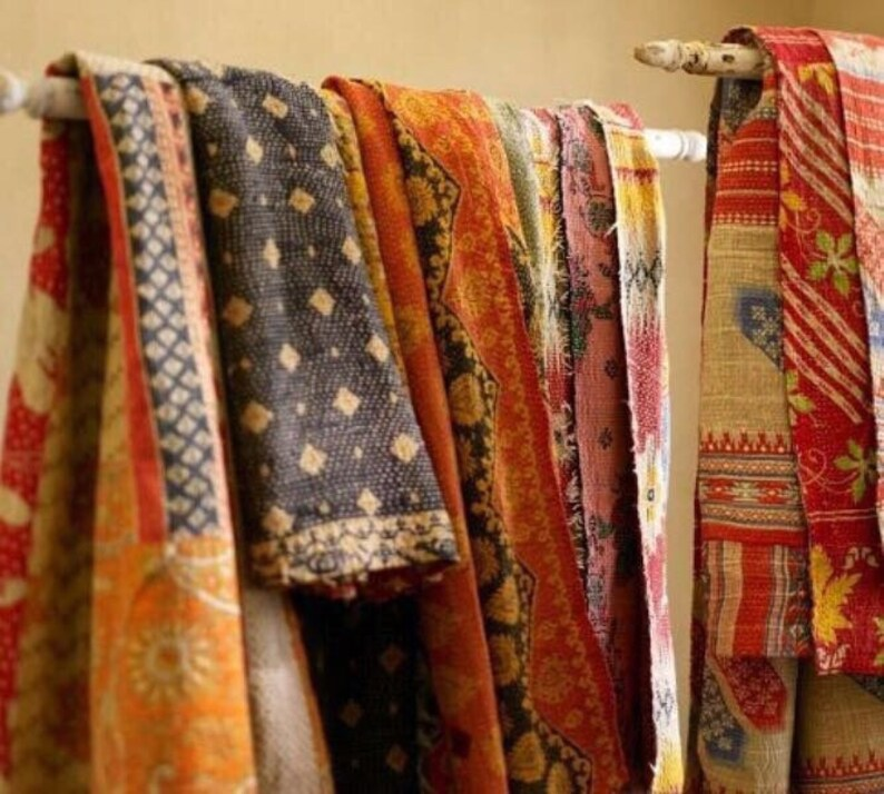 5 pcs lot Reversible Old Cotton Sari Kantha Quilts Twin Size Kantha Blankets Patchwork Twin Size Quilts at amazing discounted prices.