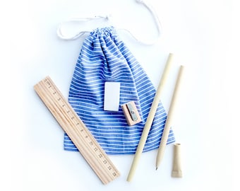 Eco-friendly stationary kit packed in a handmade mini tote bag