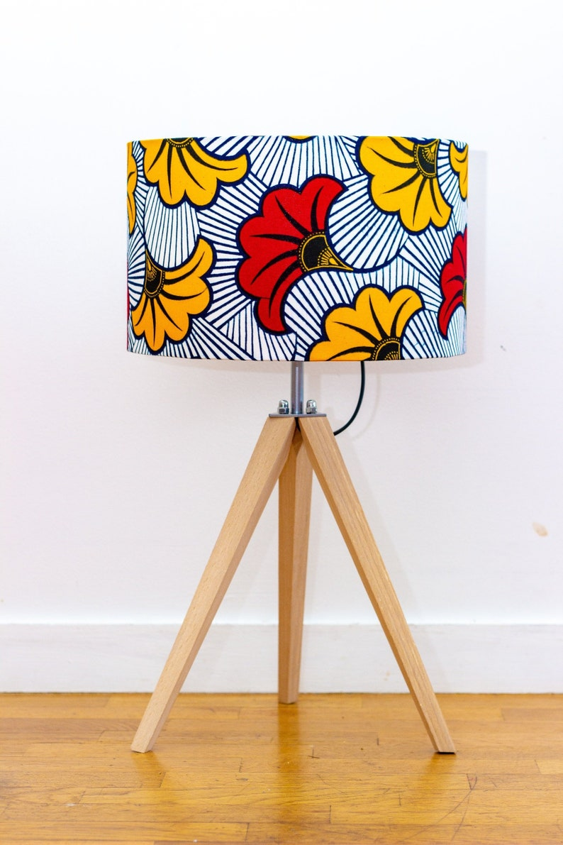 Red table lamp, bedside lamp, wooden tripod lamp, cylindrical lampshade African wax flower fabric, desk lamp, Christmas gift idea