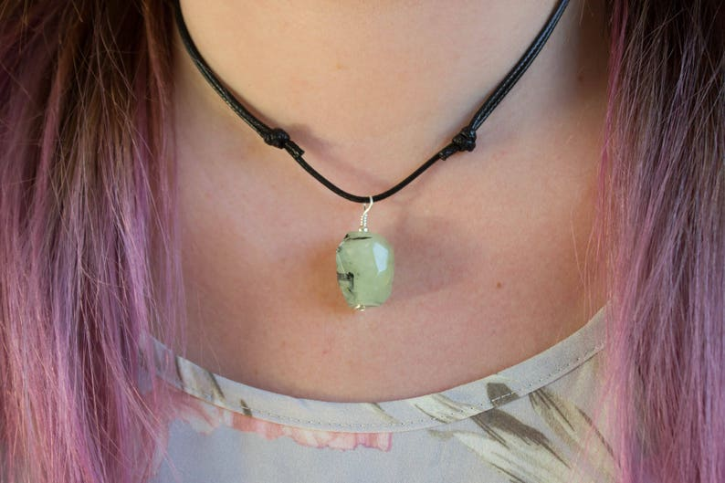 Faceted Chunky Green Stone Long  Choker Necklace Women/'s  Men/'s Necklace Crystal Nugget #02AN-01-027 Prehnite Gemstone Necklace