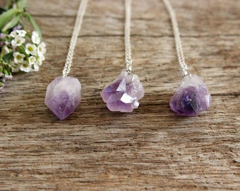 Raw Amethyst Necklace, Rough Gemstone, Sterling Silver Crystal Necklace, Natural Purple Cluster, Point Pendant - #02AN-03-001