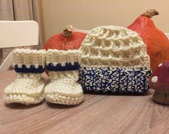 Baby booties, bootie and hat set, newborn set, baby set, baby shower gift, new baby gift