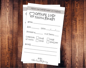 INSTANT DOWNLOAD - Lost Tooth Receipt, Tooth Fairy Receipt, Printable