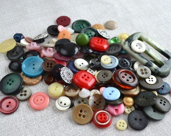 Vintage buttons set of 130pcs Button mix assorted buttons Old buttons Soviet Sewing buttons Scrapbooking buttons Antique buttons for craft