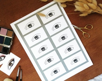Eye Makeup Cards/ Face Charts - Almond Eyes - Set of x10