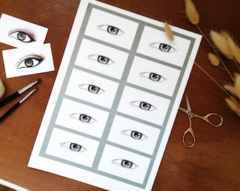 Eye Makeup Cards/ Face Charts - Hooded Eyes - Set of x10