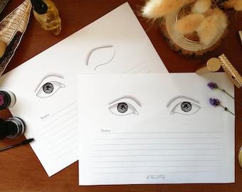 Deep-Set Downturned Eyes - Makeup Face Chart - Single Eye Display Set - A4 Layout - Klaire de Lys Designs