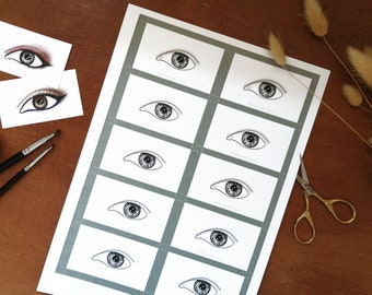 Eye Makeup Cards/ Face Charts - Demi Monolid Eyes - Set of x10