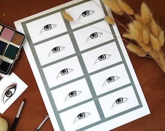 Eye Makeup Cards/ Face Charts - Monolids - Set of x10