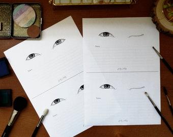 Monolids Makeup Face Chart - Double Eye Display Set - A4 Layout - Klaire de Lys Designs