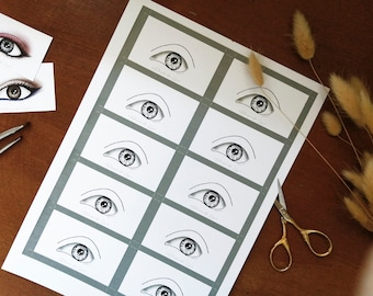 Eye Makeup Cards/ Face Charts - Large Eyes - Set of x10