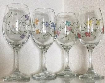 312d49b7f8d Floral   Vines Hand Painted Wine Glass Set