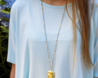 Labradorite and Gold Pyrite Rosary Necklace with 24k Gold Electroplated Arrowhead Pendant