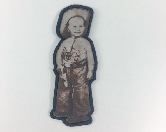 iron on patch, little cowboy, patch for jeans, sew on, patch for jacket, steampunk, art print, handmade gift, birthday, boho, antique photo