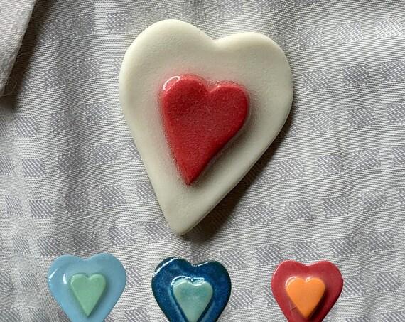 Heart Lapel Pin BroochPorcelain Ceramic