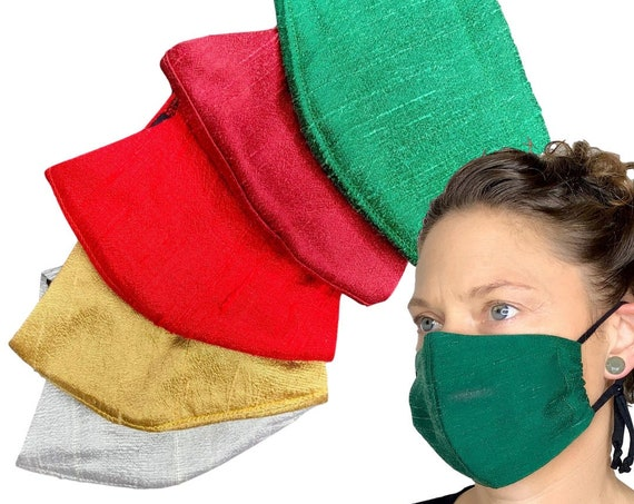 Christmas Silk Face Mask With Filter Pocket, Removable Nose Wire, and Adjustable Ear Loop