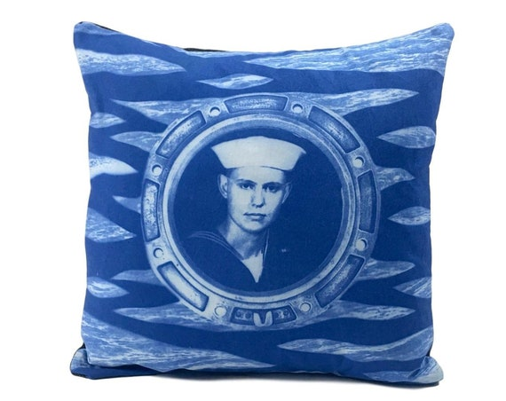 Handsome Sailor, throw pillow, solarfast, nautical home decor, beach house, seaside, retro, antique photograph, United States Navy, rustic