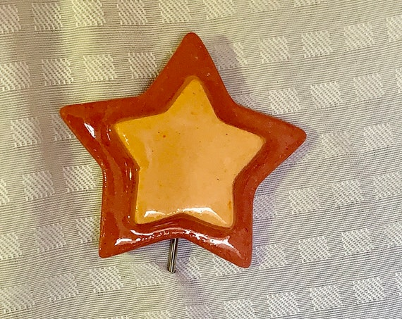 Star Brooch Pin. Ceramic Lapel Pin. Red and Orange