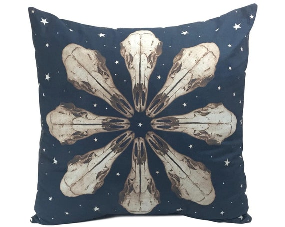 Animal skull, Deer Skull, Mandala, pillow cover, solarfast, rustic home decor, boho, steampunk, western, farmhouse, Pacific Northwest