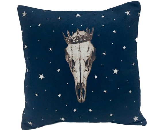 Deer Skull Pillow, animal skull, solarfast,  crown, stars, boho, western, rustic decor, steampunk, Pacific Northwest, farmhouse, gift